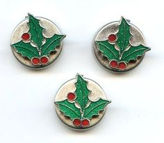 3 Vtg XMAS Button Covers Holly Leaves & Berries Enamel Silver Tone Lot
