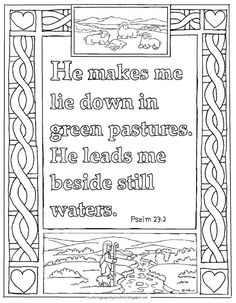 Coloring Pages for Kids by Mr. Adron: Printable Psalm 23:2 Coloring Page, Green Pastures and Still Waters Verse