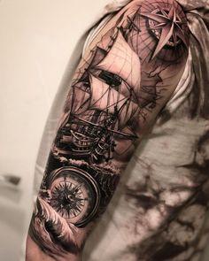 12 Tattoos, Girl Arm Tattoos, Arm Tattoos For Women, Tattoo Girls, Hand Tattoos, Ship Tattoos, Ankle Tattoos, Tattoo Women, Arrow Tattoos