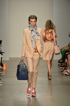 Karen Walker Spring 2014 RTW Collection, pants suit, sneakers style in orange beige. Image via Style.com