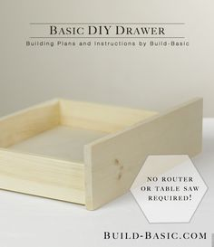 The easiest way to build a beautiful, sturdy drawer WITHOUT a table saw or router! Who knew it was so simple! Building plans and images by @BuildBasic www.build-basic.com