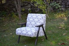 Vintage mid century modern accent Chairs, Fully Restored in Beautiful Grey upholstery fabric by robert allen. $490.00, via Etsy.