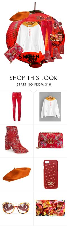"""""""Asian Inspired     Shein: white and gold Hoodie"""" by bluehatter ❤ liked on Polyvore featuring Balmain, Ted Baker, Gucci, Salvatore Ferragamo, Prada and Anne Sisteron"""