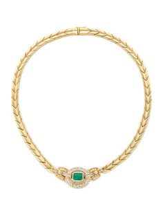 18K yellow gold link necklace with prong set diamonds and bezel set emerald ornament and clasp and safety plunger clasp closure. Includes box and case.