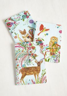 Scrawl of Nature Notebook Set - Multi, Floral, Print with Animals, Print, Critters, Woodland Creature, Good