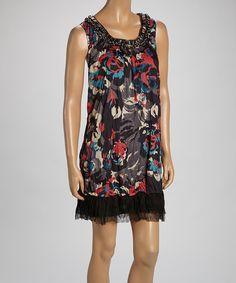 Loving this Black & Red Linen-Blend Sleeveless Tunic on #zulily! #zulilyfinds