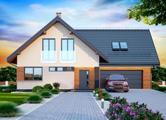 Wizualizacja DN NOELIA MODERN 2M CE Simple House Design, Pool Houses, House Front, Home Fashion, Cottage Style, Bungalow, House Plans, Sweet Home, Outdoor Structures