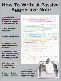 how to write a passive aggressive note... awesome.