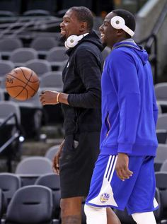 Draymond Green and Kevin Durant during practice on Sunday, May 21 In San Antonio Texas.