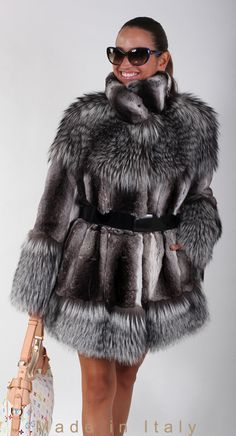 brand new     chinchilla fur     winter coat jacket     silver fox trim          size S M L XL           Sizes: 1012 USA, 1214 UK, 4446 IT, 4042 FR, 3840 DE, 4446 RU       Measures:    A: 30.7    C: 25.2    D: 17.3    E: 25.6    F: 16.9    M: ...