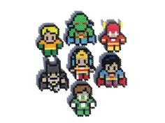 The Justice League Perler Bead Sprites by PXLTD