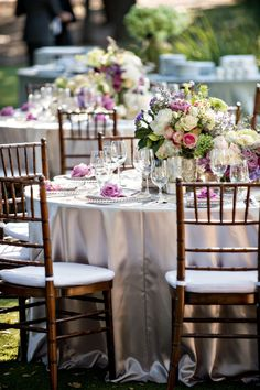 Stunning florals and elegant table decor: http://www.stylemepretty.com/california-weddings/malibu/2015/08/06/romantic-saddlerock-ranch-wedding/ | Photography: B&G Photography - http://www.bandgphotography.com/