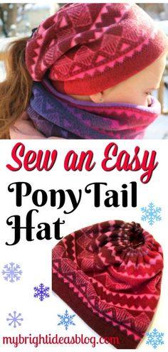 Make a Fleece Hat to wear With your Pony Tail 2019 Make a Fleece Hat to wear With your Pony Tail My Bright Ideas The post Make a Fleece Hat to wear With your Pony Tail 2019 appeared first on Wool Diy. Fleece Crafts, Fleece Projects, Easy Sewing Projects, Sewing Hacks, Sewing Crafts, Sewing Ideas, Hat Crafts, Fleece Hat Pattern, Hat Patterns To Sew