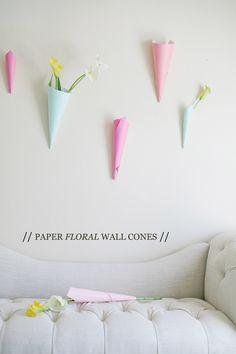 Paper floral wall cones