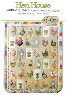Pattern ''Hen House'' Applique Quilt Pattern by Claire Turpin (CT111) from GardensongPatterns on Etsy Studio
