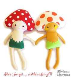 Mushroom Toadstool Doll Softie Sewing Pattern by DollsAndDaydreams, $10.00
