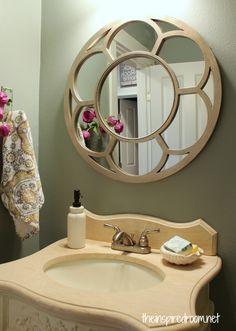 round mirror in bathroom -Glidden slate green on the walls LUKE Bathroom Colors, Small Bathroom, Bathroom Ideas, Downstairs Bathroom, Dream Bathrooms, Bathroom Inspiration, Welcome To My House, Beautiful Mirrors, Mirror Powder