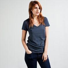 The perfect v neck. I have this in gray and white and it looks so good on and washes well. Plus they're so affordable!