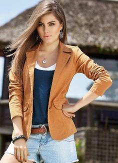 Blazer Caramelo em Sarja Blazer Moda Feminina