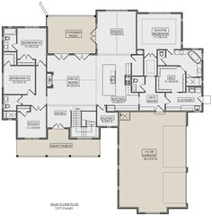 Main Floor for House Plan Best House Plans, Dream House Plans, Retirement House Plans, Farmhouse Floor Plans, Farmhouse Layout, Farmhouse Renovation, 5 Bedroom House Plans, Barndominium Floor Plans, House Layouts