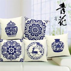 "Square 18"" Chinese Pillow Cases Decorative Cotton Cushion Cover in Chinese Blue-white Porcelain Customized Drop Shipping #Affiliate"