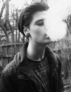 piercing hipster models Smoking bw male model chrstphrmc christopher mc