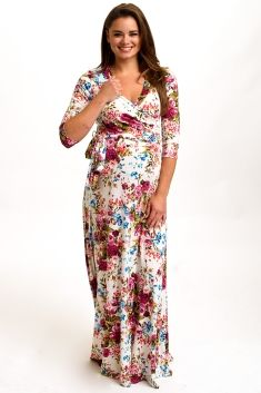 Ivory-Floral-Draped-3/4-Sleeve-Maxi-Dress