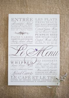 Le Menu! by Robin K Design ~ Photography by justinmarantz.com, Catering by athymetocook.com