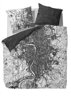 Essenza Bettwäsche Baxter black Satin schwarz weiß London Stadtplan Baumwolle