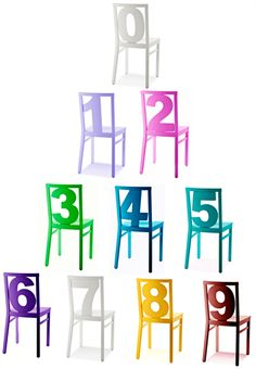 What's Your Number? -Number chairs by Luigi Billiani - photo courtesy of Eurotrend Furniture LLC from interiordesign.net