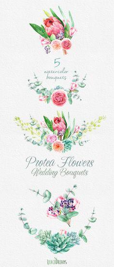 Watercolor bouquet da sposa Fiori Protea eucalipto di ReachDreams