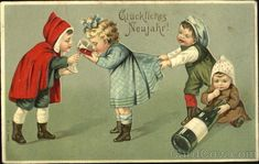 Where are their parents?! | 17 Strange And Creepy Vintage New Years Cards