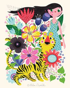 - limited edition giclee print of an original illustration x 10 in) Illustration Arte, Helen Dardik, Arte Country, Motif Floral, Illustrations And Posters, Pattern Wallpaper, Doodle Art, Cute Art, Collage Art