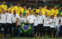 Brazil celebrate after the Men's Football Final between Brazil and Germany at the Maracana Stadium on Day 15 of the Rio 2016 Olympic Games on August 20, 2016 in Rio de Janeiro, Brazil.