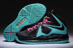 Womens Nike Lebron X (10) Black/New BLue-Pink