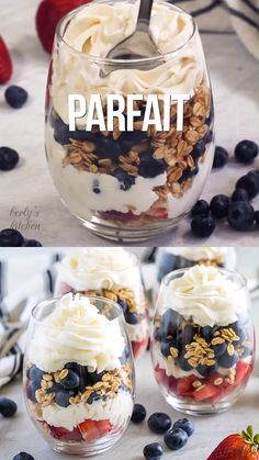 This strawberry blueberry fruit parfait is a fun, red white and blue dessert that is the best summer recipe! This strawberry blueberry fruit parfait is a fun, red white and blue dessert that is the best summer recipe! Parfait Desserts, Fruit Parfait, Blue Desserts, Parfait Recipes, Smoothie Recipes, Summer Dessert Recipes, Healthy Summer Recipes, Healthy Dessert Recipes, Fruit Recipes