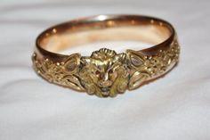 Victorian Bangle Bracelet GF Lion Head 1910s Jewelry Paste Rhinestone Ruby Eyes