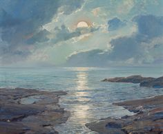 FREDERICK JUDD WAUGH (American, 1861-1940). The Risen Moon, 1926. Oil on canvas. 25 x 30