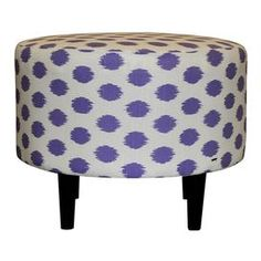 Add a pop of pattern to your home decor with this eye-catching selection.  Product: Ottoman Construction Material: Cotton and woodColor: ThistleFeatures:  Beautifully crafted silhouetteWill enhance any dcor Dimensions: 19 H x 23 DiameterNote: Assembly required -hardware not includedCleaning and Care: Wipe clean