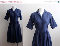 Hey, I found this really awesome Etsy listing at https://www.etsy.com/listing/218559014/on-sale-navy-blue-1950s-day-dress
