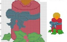 cross stitch pattern of Christmas red candle with blue bow