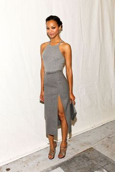 If you're showing off your legs, go for a halter dress like Zoe Saldana's that still covers you up top // #Style #Celebrity #Fashion