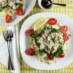 Fennel, Tomato, Watercress and Flaked Fish Salad: A refreshing dish that features a nice contrast between the cool salad and the warm fish.