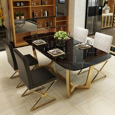 "New Collection Stylish Rectangular Faux Marble Dining Table with Black Metal Frame Luxurious Tableware 💫 ""You dream , we design"" Professional home designers since 1999 🔸Steel 🔸Marble 🔸Glass 🔸Wood For more inquiries 01200488977 or DM Stainless Steel Dining Table, Marble Top Dining Table, Dining Table Legs, Glass Dining Table, Dining Chairs, Marble Furniture, Dining Furniture, Dinning Table Design, Elegant Dining"