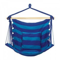 Sit back & relax in style! This cozy & cool Blue Stripe Hammock Chair features vibrant light and cobalt blue stripes that will add some beautiful color in your yard. Hammock Swing Chair, Hammock Stand, Swinging Chair, Swing Chairs, Hammock Ideas, Standing Desk Chair, Cool Swings, Striped Chair, Iron Wall Decor