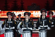 The drum corps of the Moscow Suvorov Military Music School performing in the 2009 Spasskaya Tower International Military Music Festival.