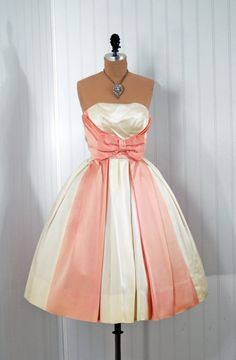 1950's Jacques Heim Pink Satin Bow Party Dress