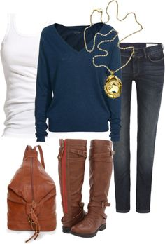 """Untitled #305"" by leiton13 on Polyvore...love the necklace!"