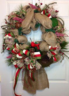 Rustic Christmas Burlap Wreath on Etsy, $89.00
