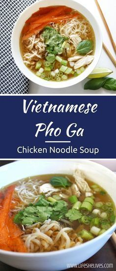 Vietnamese Pho Ga: Chicken Noodle Soup Vietnamese Pho Ga is a fragrant and flavorful dish that can be easily customized for preference! Garnish with delicious vegetables and herbs for a. Vietnamese Chicken Noodle Soup Recipe, Chinese Chicken Recipes, Easy Chinese Recipes, Asian Recipes, Asian Chicken, Pho Soup Recipe Chicken, Healthy Chicken, Pho Soup Recipe Easy, Chicken Salad